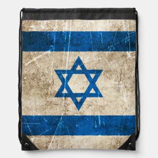 Vintage Aged and Scratched Flag of Israel Drawstring Bag