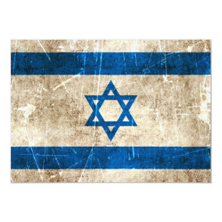"""Vintage Aged and Scratched Flag of Israel 5"""" X 7"""" Invitation Card"""