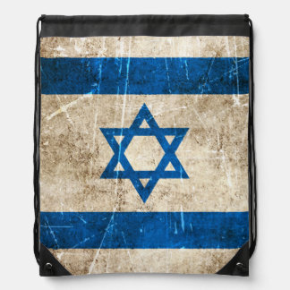 Vintage Aged and Scratched Flag of Israel Drawstring Bags