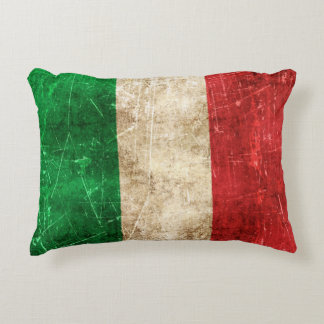 Vintage Aged and Scratched Flag of Italy Decorative Pillow