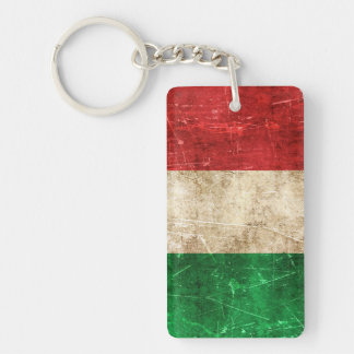 Vintage Aged and Scratched Flag of Italy Keychain