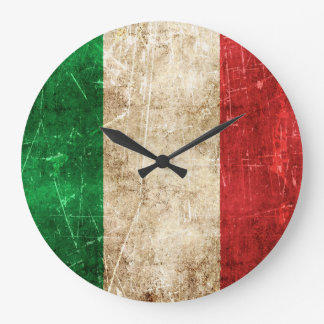 Vintage Aged and Scratched Flag of Italy Large Clock