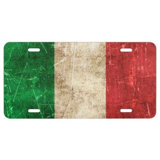 Vintage Aged and Scratched Flag of Italy License Plate