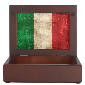 Vintage Aged and Scratched Flag of Italy Memory Box
