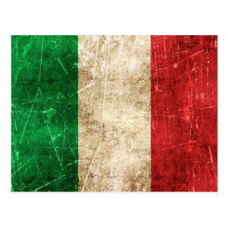 Vintage Aged and Scratched Flag of Italy Postcard