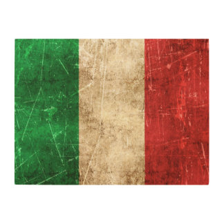 Vintage Aged and Scratched Flag of Italy Wood Wall Art