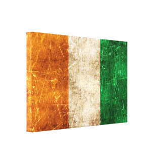 Vintage Aged and Scratched Flag of Ivory Coast Canvas Print