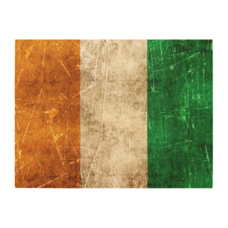 Vintage Aged and Scratched Flag of Ivory Coast Wood Canvas