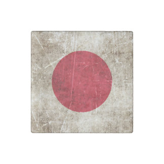 Vintage Aged and Scratched Flag of Japan Stone Magnet