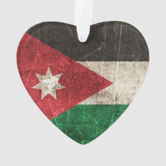 Vintage Aged and Scratched Flag of Jordan Ornament