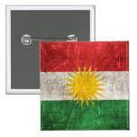 Vintage Aged and Scratched Flag of Kurdistan Pinback Button