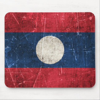 Vintage Aged and Scratched Flag of Laos Mouse Pad