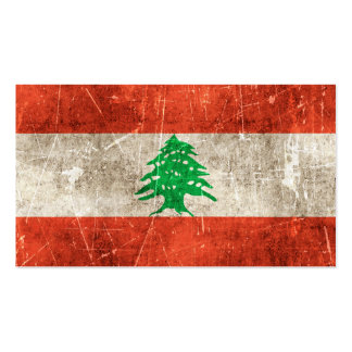 Vintage Aged and Scratched Flag of Lebanon Business Card Template