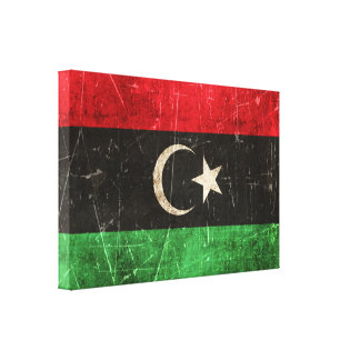 Vintage Aged and Scratched Flag of Libya Stretched Canvas Print
