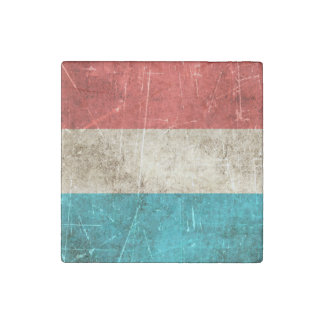 Vintage Aged and Scratched Flag of Luxembourg Stone Magnet
