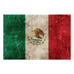 Vintage Aged and Scratched Flag of Mexico Poster
