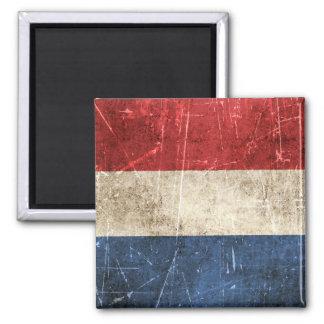 Vintage Aged and Scratched Flag of Netherlands Magnets