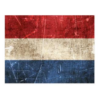 Vintage Aged and Scratched Flag of Netherlands Postcard
