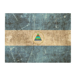 Vintage Aged and Scratched Flag of Nicaragua Wood Wall Art