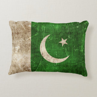 Vintage Aged and Scratched Flag of Pakistan Decorative Pillow