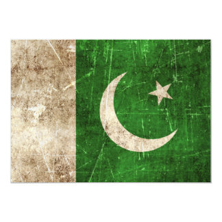 Vintage Aged and Scratched Flag of Pakistan 5x7 Paper Invitation Card