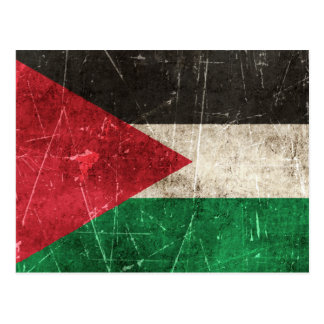 Vintage Aged and Scratched Flag of Palestine Postcard