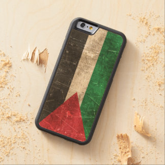 Vintage Aged and Scratched Flag of Palestine Carved® Maple iPhone 6 Bumper