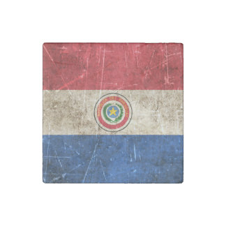 Vintage Aged and Scratched Flag of Paraguay Stone Magnet