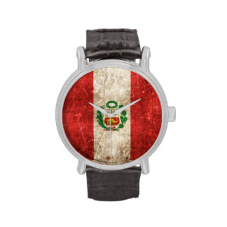 Vintage Aged and Scratched Flag of Peru Wristwatch