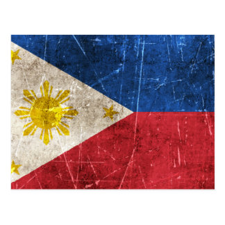 Vintage Aged and Scratched Flag of Philippines Postcard