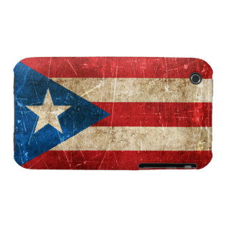 Vintage Aged and Scratched Flag of Puerto Rico iPhone 3 Covers
