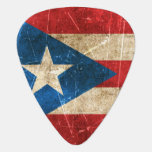 Vintage Aged and Scratched Flag of Puerto Rico Guitar Pick