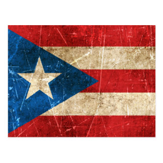 Vintage Aged and Scratched Flag of Puerto Rico Postcard