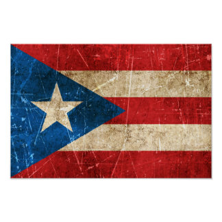 Vintage Aged and Scratched Flag of Puerto Rico Poster