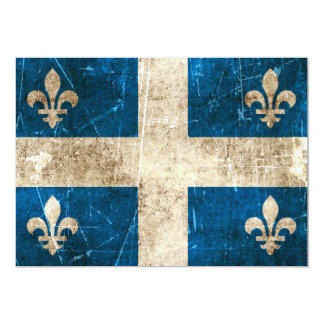 Vintage Aged and Scratched Flag of Quebec 5x7 Paper Invitation Card