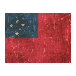 Vintage Aged and Scratched Flag of Samoa Wood Wall Art