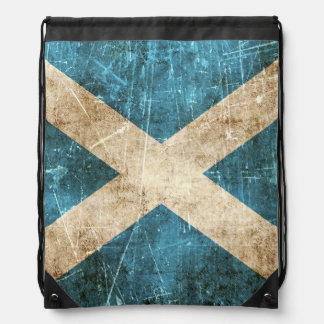 Vintage Aged and Scratched Flag of Scotland Drawstring Bag