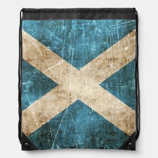 Vintage Aged and Scratched Flag of Scotland Drawstring Bag