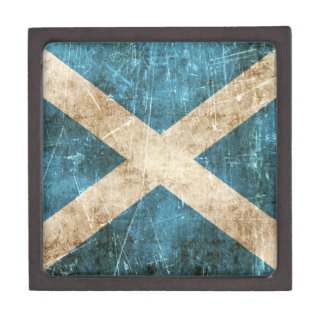Vintage Aged and Scratched Flag of Scotland Gift Box