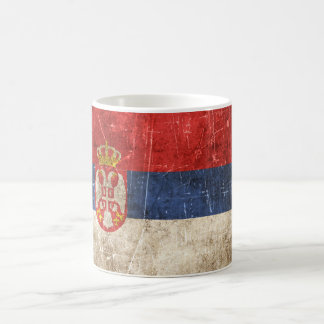 Vintage Aged and Scratched Flag of Serbia Coffee Mug