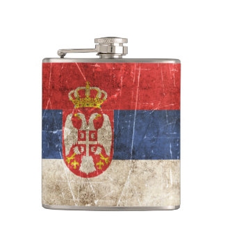 Vintage Aged and Scratched Flag of Serbia Hip Flask