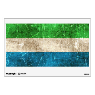 Vintage Aged and Scratched Flag of Sierra Leone Wall Decal