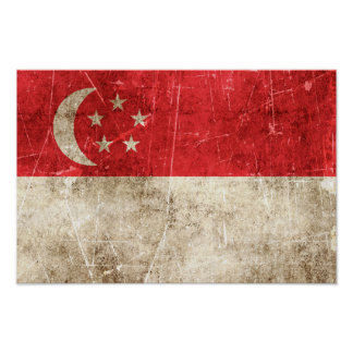 Vintage Aged and Scratched Flag of Singapore Posters