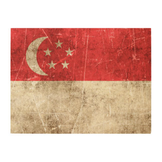 Vintage Aged and Scratched Flag of Singapore Wood Wall Art