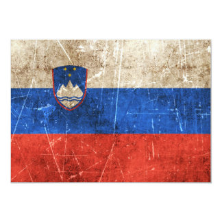 Vintage Aged and Scratched Flag of Slovenia Card