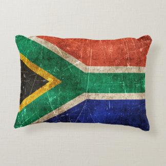 Vintage Aged and Scratched Flag of South Africa Decorative Pillow