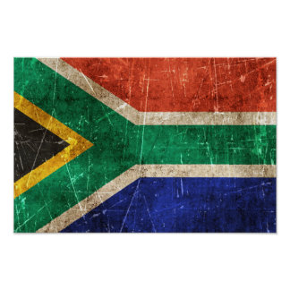 Vintage Aged and Scratched Flag of South Africa Poster