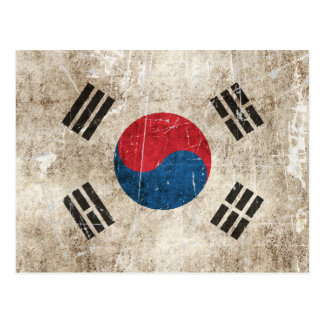 Vintage Aged and Scratched Flag of South Korea Postcard
