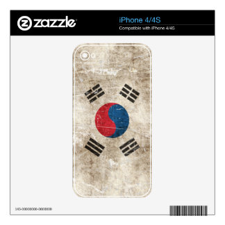 Vintage Aged and Scratched Flag of South Korea Decal For The iPhone 4