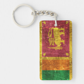 Vintage Aged and Scratched Flag of Sri Lanka Keychain